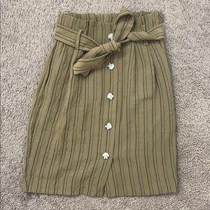 High waisted paper bag skirt